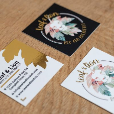 Leaf & Lion Bed and Breakfast Business Cards